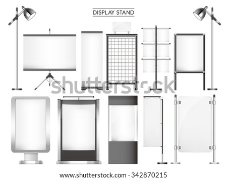 display stand collection set isolated on white background