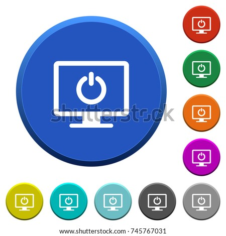 Display standby mode round color beveled stock vector royalty free display standby mode round color beveled buttons with smooth surfaces and flat white icons altavistaventures Image collections