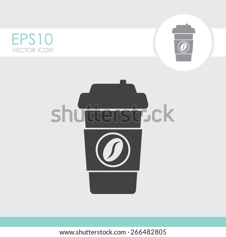 Disposable coffee cup icon. vector icon. - stock vector