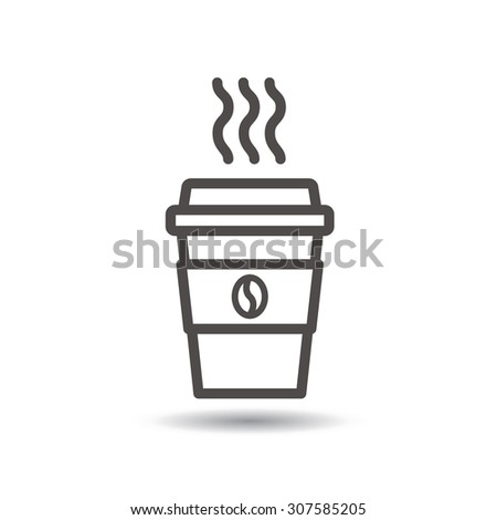 Disposable coffee cup icon with coffee beans logo. Vector, flat design - stock vector