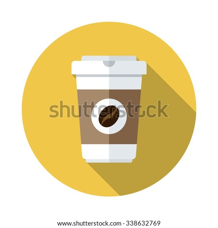 Disposable coffee cup icon with coffee beans logo, Vector illustration flat design with long shadow. - stock vector