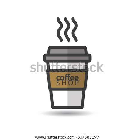 Disposable coffee cup icon with coffee shop logo. Vector, flat design - stock vector