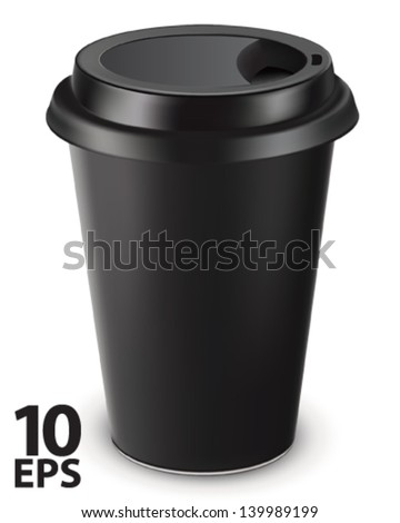 Disposable coffee cup isolated. Vector illustration - stock vector