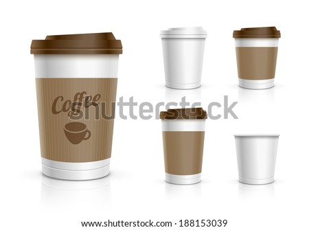 Disposable coffee cups collection. Vector illustration. - stock vector
