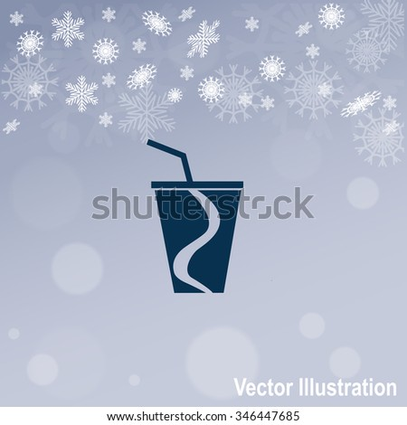 Disposable cup for beverages vector icon.