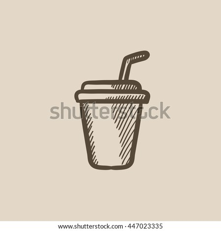 Disposable cup with drinking straw vector sketch icon isolated on background. Hand drawn Disposable cup with drinking straw icon. Disposable cup sketch icon for infographic, website or app. - stock vector
