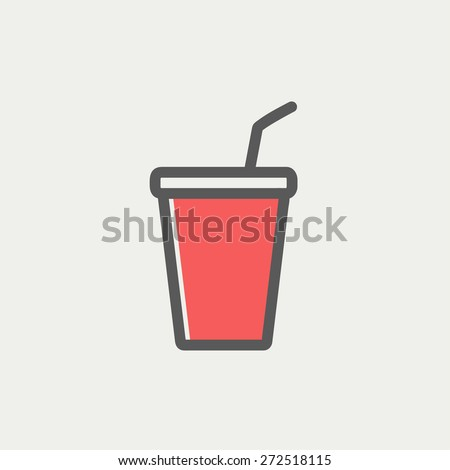 Disposable cup with lid and straw icon thin line for web and mobile, modern minimalistic flat design. Vector icon with dark grey outline and offset colour on light grey background. - stock vector