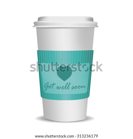 disposable cup with message on cardboard