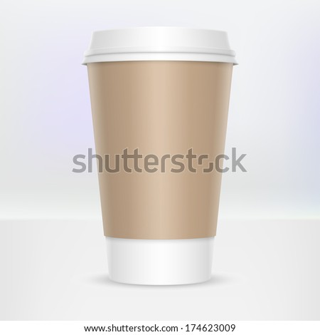 Disposable or recyclable coffee cup with cap
