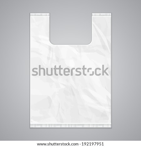 Disposable Plastic Bag Package Grayscale Template. Ready For Your Design. Product Packing Vector EPS10 - stock vector