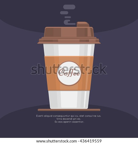 Disposable takeaway paper coffee cup in flat vector style. Coffee in paper cup and beverage latte or coffee takeaway illustration - stock vector