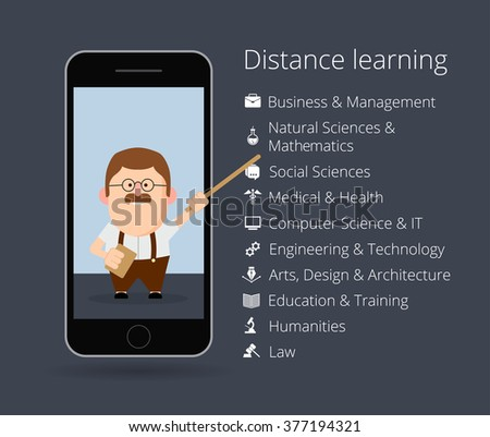 distance learning. Professor in mobile phone. List of academic disciplines. Business and management, natural sciences and mathematics, social, medical, health, computer, IT, engineering - stock vector