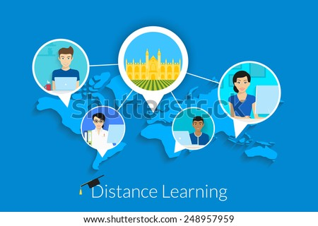 Distance learning vector illustration with students and university in the center. Text outlined. Free font Lato - stock vector