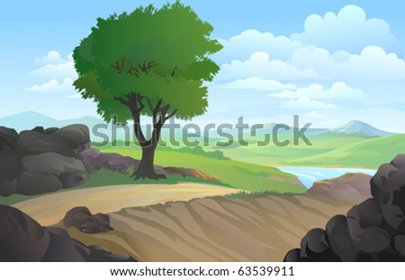 DISTANT HILLS AND  A TREE IN BACKGROUND - stock vector