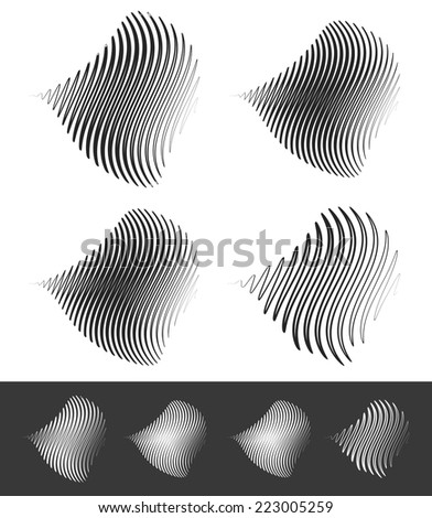 Distorted abstract wavy lines - stock vector