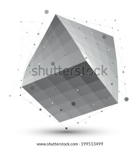 Distorted 3D abstract object with lines and dots isolated on white background, unusual spatial cube. - stock vector