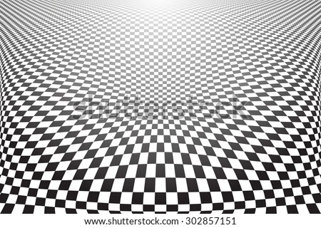 Distorted textured surface. Abstract checked background. Vector art. - stock vector
