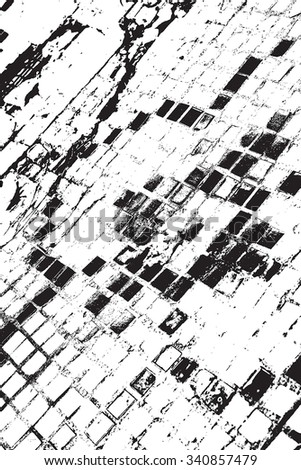 Distressed Grid Overlay Texture for your design. EPS10 vector. - stock vector