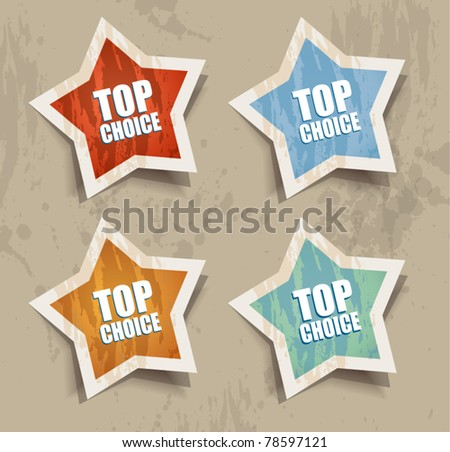 """Distressed Star """"TOP PRICE"""" retr? style bubbles sticker. Shadows are transparent - stock vector"""
