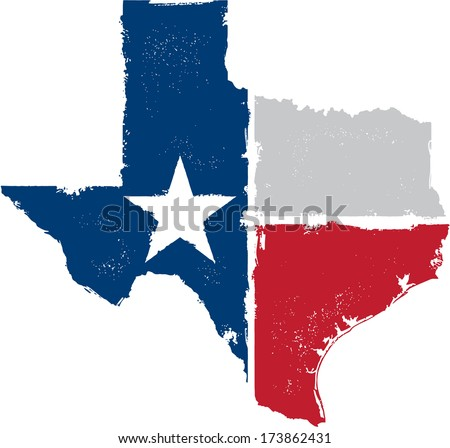 Distressed Texture Texas State Icon - stock vector