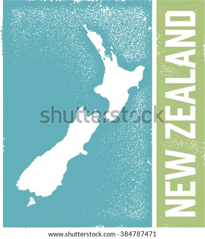 Distressed Vintage Style New Zealand Country Sign - stock vector