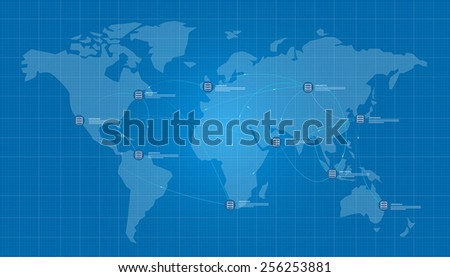 distributed database world map blue print - stock vector