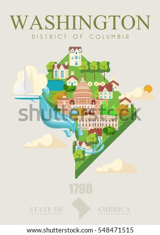 District of Columbia vector american poster. USA travel illustration. United States of America colorful greeting card. Washington DC