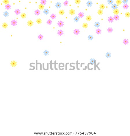 Ditsy Cute Frame With Daisy Flowers Simple Background For Poster Postcard Invitation Card