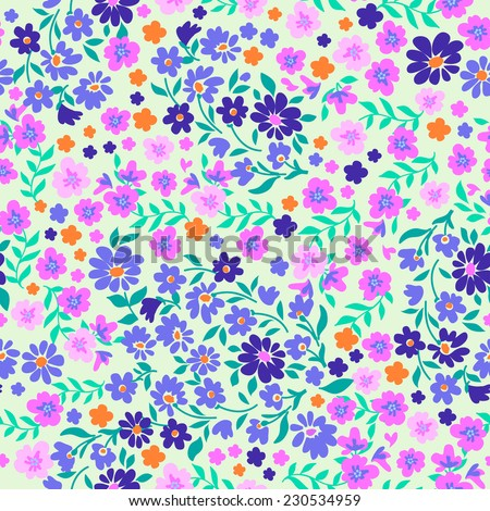 ditsy pastels  seamless floral print - stock vector