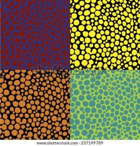 Ditsy pattern inspired by fall nature & tropical fish skin hand drawn with short brush strokes, dots and splatter in multiple colors - orange, yellow, pink, red, brown, seamless vector texture Set - stock vector