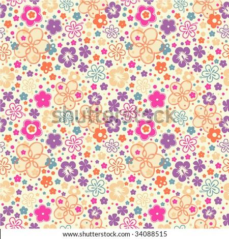 Ditsy Summer Floral seamless wallpaper - stock vector