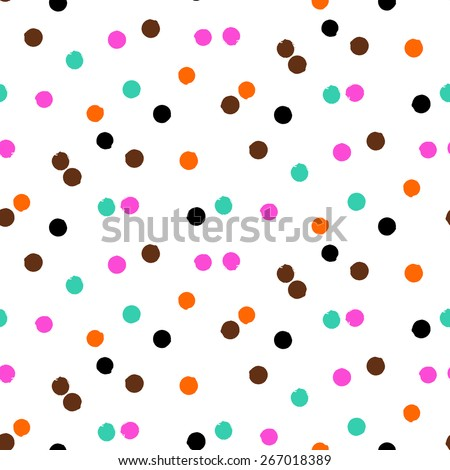 Ditsy vector polka dot pattern with scattered hand drawn small circles in bright multiple colors. Seamless texture in vintage 1960s fashion style. Modern hipster background with painted round shapes - stock vector