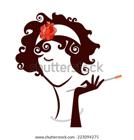 Diva Flapper Woman Beauty  vintage  - stock vector