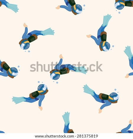diver , cartoon seamless pattern background - stock vector