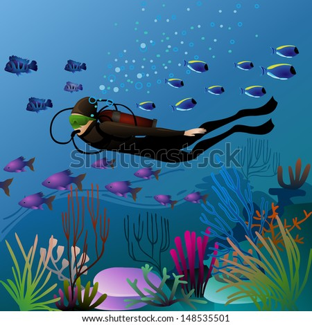diver in underwater environment (eps10 vector) - stock vector