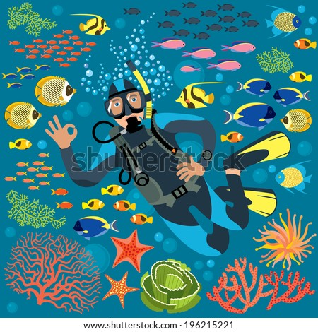 Diver With Underwater Plants And Fishes Set - stock vector