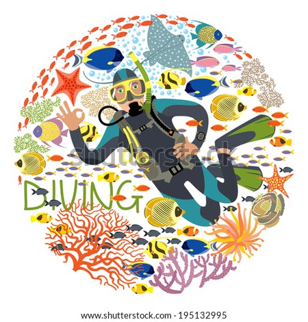 Diver With Underwater Plants And Tropical Fishes - stock vector
