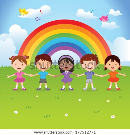 Diverse children under the rainbow. Vector illustration of happy kids holding hands with rainbow background. - stock vector