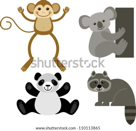 diverse collection of funny animals, vector illustration - stock vector