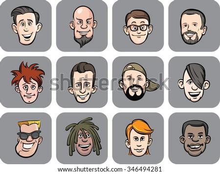 diverse men faces vector illustration - stock vector