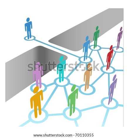 Diverse people bridge a gap to connect and join social media network or merger team - stock vector