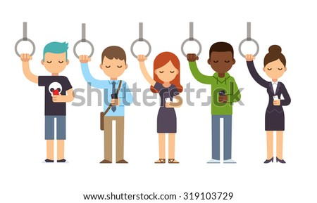Diverse people on subway commute looking at smartphones. Vector illustration in simple flat style. - stock vector