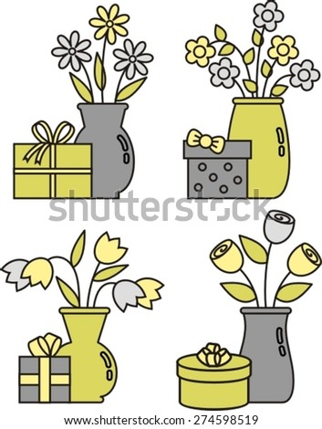 diverse set of gifts - stock vector