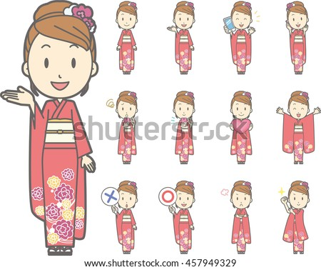 Diverse set of Woman wearing a Japanese kimono on white background , vector format vol.1