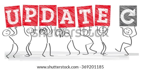 Diverse Stick figures Holding The Word Update - stock vector
