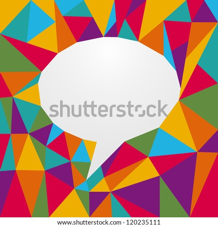 Diversity colors origami paper in social speech bubble shape.. Vector file layered for easy manipulation and custom coloring.