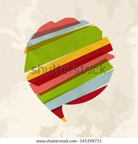 Diversity colors transparent bands speach bubble over grunge background. EPS10 file version. This illustration contains transparency and is layered for easy manipulation and custom coloring. - stock vector