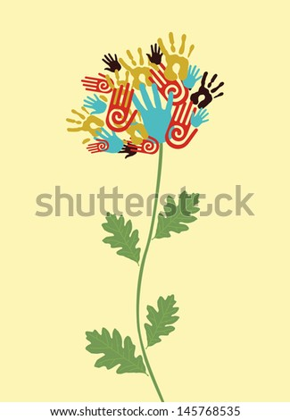 Diversity flower hands illustration. Vector illustration layered for easy manipulation and custom coloring. - stock vector