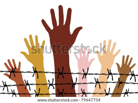 Diversity hands behind a barbed wire. - stock vector