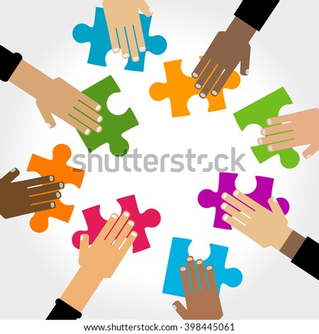 diversity hands puzzle illustration - stock vector
